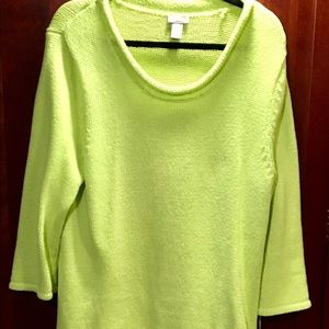 Chico's lime green cotton tunic sweater